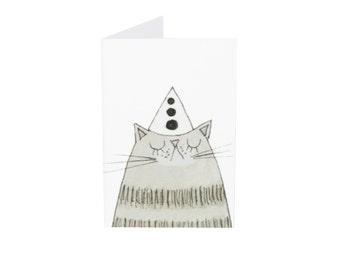 Cat Birthday Card, Miniature Cat Card and Envelope, Grey Tabby Cat Tiny Birthday Card for the Cat or Gift for your Cat Lover Friend, Poosac