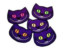 """iron on patch cheshire cat, alice in wonderland, cheshire, cat grinn, we're all mad here, alice, ravewear, psychedelic, 4""""/10cm 051"""