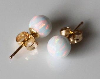 6mm Fire Opal gold earring studs, Multiple colors, opal ball studs, 14K Gold fill opal earrings, Opal Jewelry, Bridal, Birthday Christmas