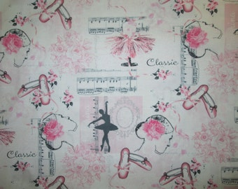 Ballerina Ballet Dancers Music Flowers Slippers Cotton Fabric Fat Quarter or Custom Listing