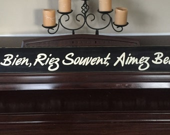 """Live Well Laugh Often Love Much in French Sign Plaque XL Elegant Rustic Cottage Chic Farmhouse Hand Painted Wooden U Pick Colors 51"""" Inches!"""