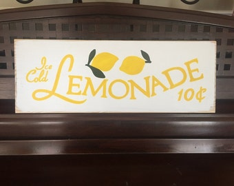 Fresh Ice Cold LEMONADE Sign Plaque Wooden HP Kitchen Decor Wall Art Lemons Limoncello Great for Kids Stand Hand Painted