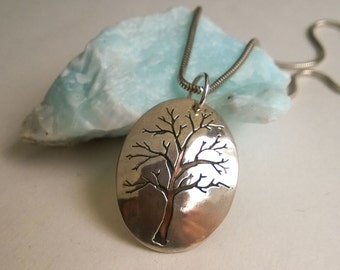 Tree of Life Pendant in Sterling Silver & Copper  - Oval - ON SALE