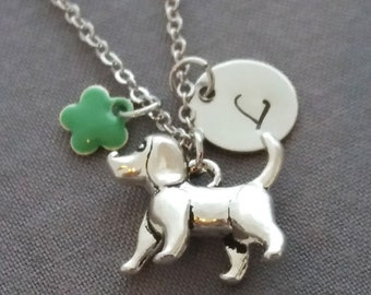 Little Dog Necklace. Initial Necklace. Silver Dog Pendant. Personalized Gift. Hand Stamped.Love My Dog. Doggy Necklace. Gift Under 20