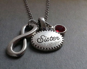Infinity Sister Necklace. Initial Necklace. Infinity Pendant. Gift For Sister. Christmas Gift. Birthstone Necklace. BFF Gift