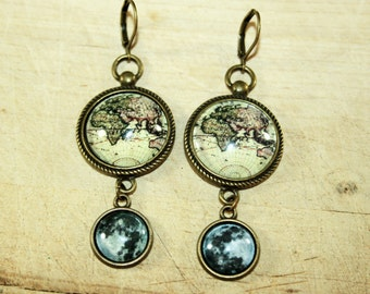 Antique World Map Moon Earrings bronzecolored - globetrotter travel globe continents cruise farewell seafaring vintage sister friend gift