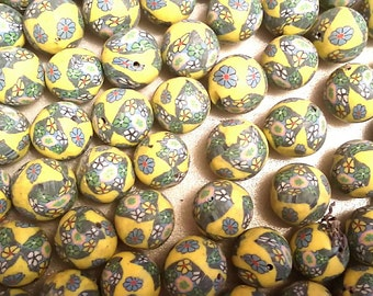 20 Fimo Polymer Clay Round Beads Yellow Green flowers beads 12mm