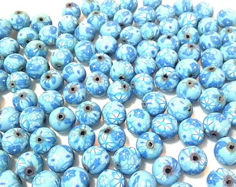 20 Fimo Polymer Clay Round Beads Skyblue blue flower beads 12mm
