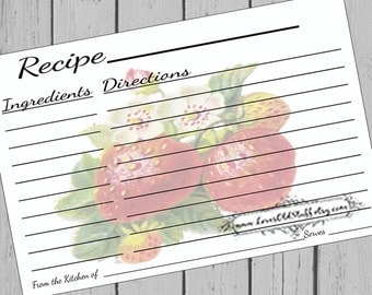 Strawberry Printable Recipe Card | 3x5 Blank Recipe Cards | 4x6 Recipe Card Template 3.5x5 | Hostess Gift Ideas