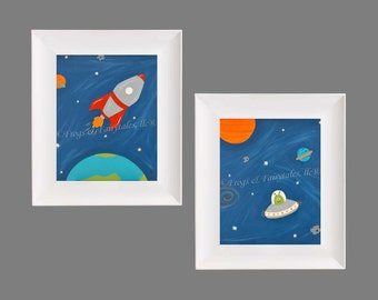 Outer Space Prints, Rocket and Alien Wall Art, Spaceship