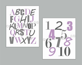 Alphabet Numbers Purple Gray Canvas Wall Art