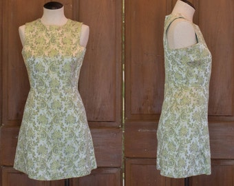 SML-MED | 1960's Pale Green Brocade Sleeveless Cocktail Sheath Dress