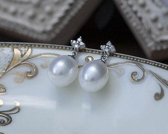 Diamond Teardrop Pearl Drop Earrings