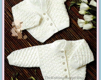 PDF Knitting Pattern for 2 Babies Cardigans to Fit 12-22 inch Chests - Instant Download