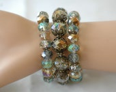 SALE - Stretch Bracelet, Multi strand Bracelet, set of 3 Gray crystal beads bracelet, Layered Bracelet, Gift for her, Holiday Gift