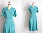 vintage 1940s Paul Sachs dress // 40s turquoise studded dress