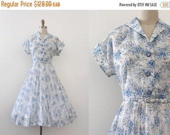 SUMMER SALE vintage 1950s dress // 50s sheer blue floral dress