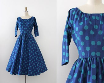 vintage 1950s Anne Fogarty dress // 50s silk polka dot dress