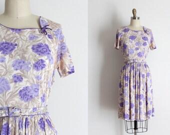 vintage 1950s dress // 50s purple floral dress with belt