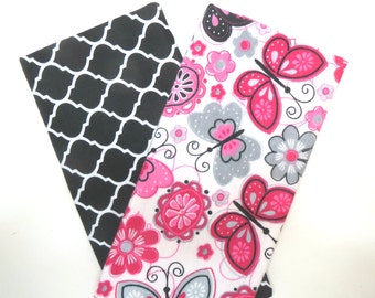2 Pack of Flannel Fabric Fat Quarters in a Bundle of Pink, Grey, Black and White Flowers, Butterflies and Trellis Prints