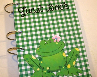 Guest Book, Frog Birthday, Party Sign in Book, Frog Baby Shower Girl,  Guest Book, Girly Frog, Green and Pink Frog Guest Book