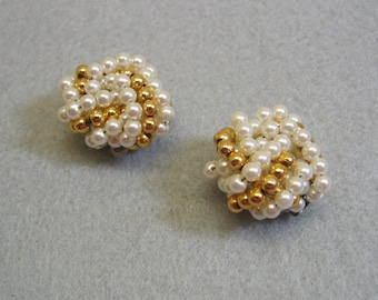 Gold and White Pearl Rosette Shoe Clips, Vintage, Never Used