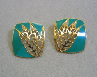 Vintage Over the Top  Berebi Teal Green and Gold Pierced Earrings