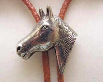 Large Horse Head Bolo Tie, Vintage Antique Silver Metal