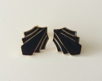 Black Enamel and Warm Gold Abstract Design Pierced Earrings
