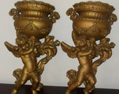 Pair of Vintage Hollywood Regency Cherub Wall Urn Gold Gilt Kitschy Home Decor
