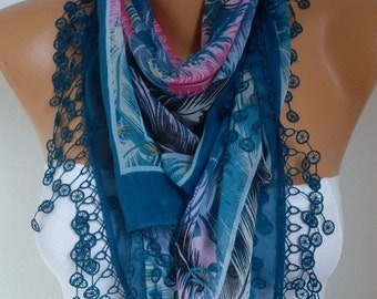 Teal Feather Cotton Scarf  Oversize Scarf Necklace Cowl Scarf Gift Ideas for Her Women Fashion Accessories Mother's Day Gift