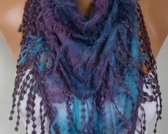 Purple Ombre Scarf Christmas Gift Fringe Scarf Cowl Scarf Gift Ideas For Her Women's Fashion Accessories best selling items