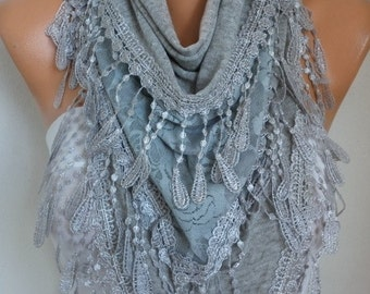 Gray Knitted Scarf,Fall Winter Scarf, Shawl, Cowl,Bridesmaid Gift, Gift Ideas For Her  Women Fashion Accessories best selling item scarf