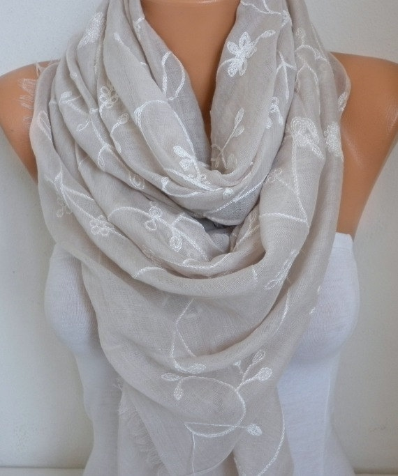 Neutral Beige Cotton Embroidered Scarf, Soft, Bridal Shawl, Wedding Scarf,Summer Scarf, Cowl Gift Ideas For Her Women Fashion Accessories