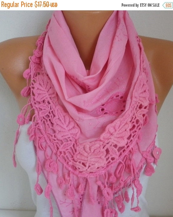 Pink Embroidered Floral Scarf Cotton Scarf Cowl Bridesmaid Gift Bridal Gift Ideas For Her Women Fashion Accessories best selling item