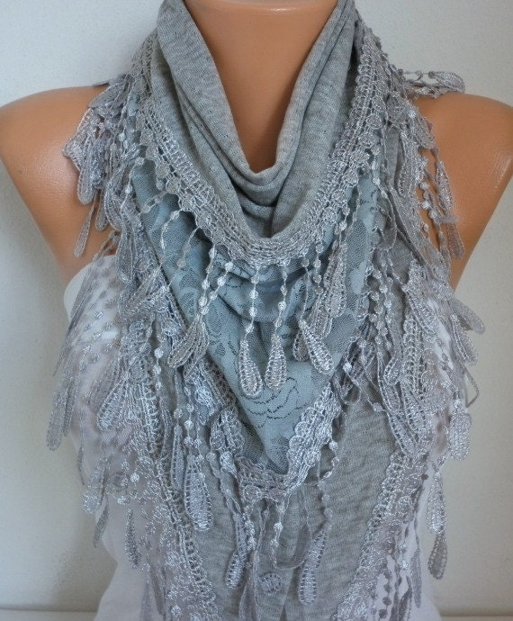 Gray Knitted Scarf,Spring Summer Scarf, Shawl, Cowl,Bridesmaid Gift, Gift Ideas For Her  Women Fashion Accessories best selling item scarf