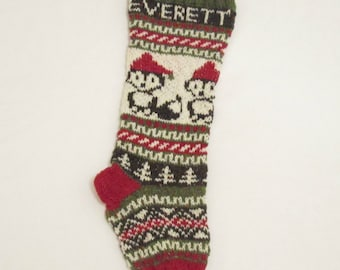 Fox Christmas Stocking Knitted Personalized with Santa Foxes (made to order) Fair Isle Xmas Knitted Stocking Foxes with Santa Hat