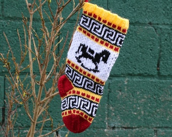Small Knitted Holiday Stocking with Fair Isle Christmas Rocking Horse Yellow Red Ornament Home Decor Modern Xmas -  SYR