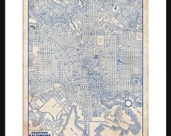 Baltimore Map 1944 Street Map Vintage Blueprint  Grunge Print Poster