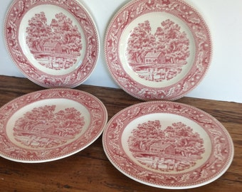 Vintage Royal China Memory Lane Dinner Plates / Pink Transferware Plates/ Red Transferware