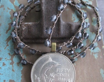 Marlin billfish coin crochet necklace - Priceless - indigo navy blue crocheted genuine coin surfer beach boho by slashKnots