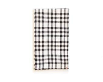 Black And White Tea Towel With Checks and Dots