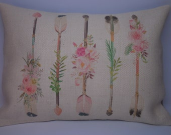 Flower Arrows Burlap Pillow, Farmhouse Pillows, Shabby Chic, INSERT INCLUDED