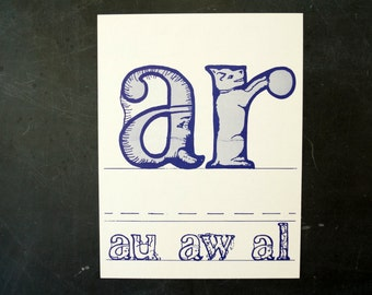 """Vintage Letters """"AR"""" Flashcard / Phonics Card, 7"""" tall (c.1958) - Collectible, Altered Art Ephemera, Home Decor, and more"""