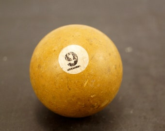 Vintage / Antique Clay Billiard Ball Yellow Number 9, Standard Pool Ball Size (c.1910s) - Collectible, Home Decor, Altered Art