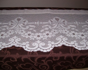 Two Ivory Lace Valances-18 long and 68 wide each