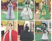 The Southern Belle Collection Annie's Attic 6 crochet Pattern Booklets for Fashion Barbi Doll from Gone with the Wind -Drapes Mourning more