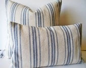 Grain Sack Pillow Cover Blue Farmhouse Pillow Blue Cottage Pillow French Grain Sack