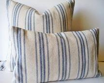 Grain Sack Pillow Cover Blue Farmhouse Pillow Blue Cottage Pillow French Grain Sack