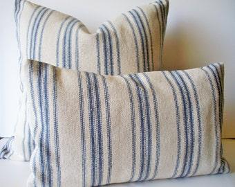 Grain Sack Pillow Cover, Blue Farmhouse Pillow Blue Cottage Pillow French Grain Sack 0